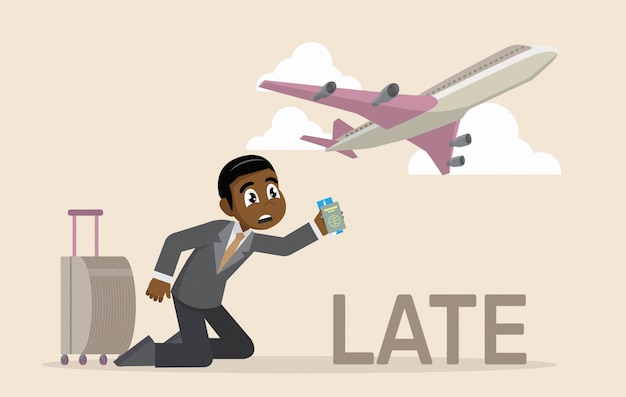 African businessman late for a flight.