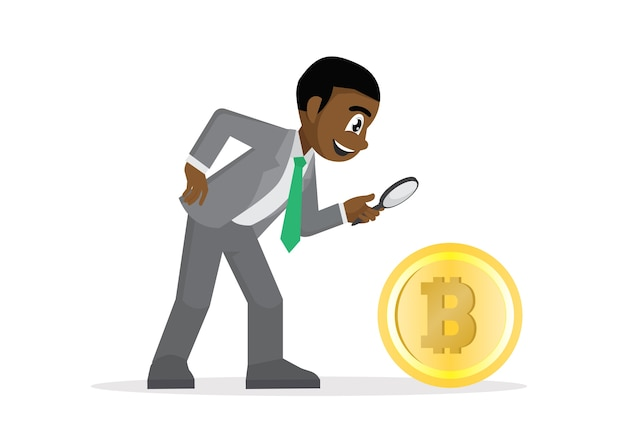 African businessman looking bitcoin with magnifying glass.
