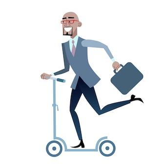 Африканский бизнесмен на скутере здорового образа жизни