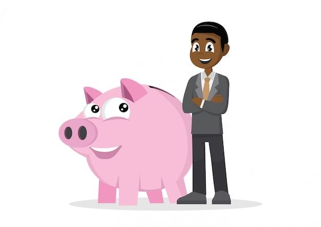 African businessman and piggy bank.