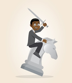 African businessman riding chess horse with a sword.