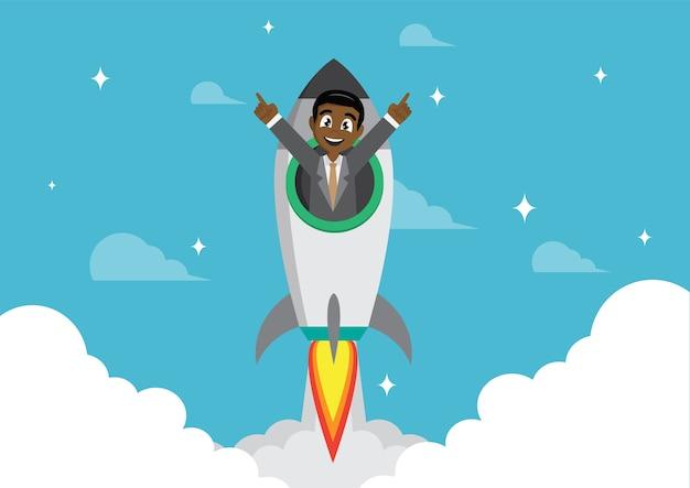 African businessman on a rocket. startup business.