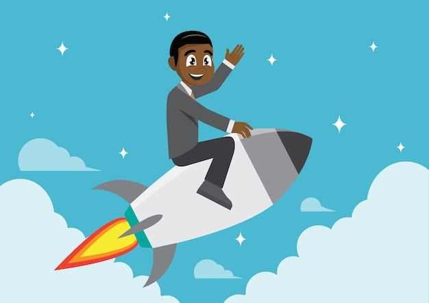 African businessman on a rocket.