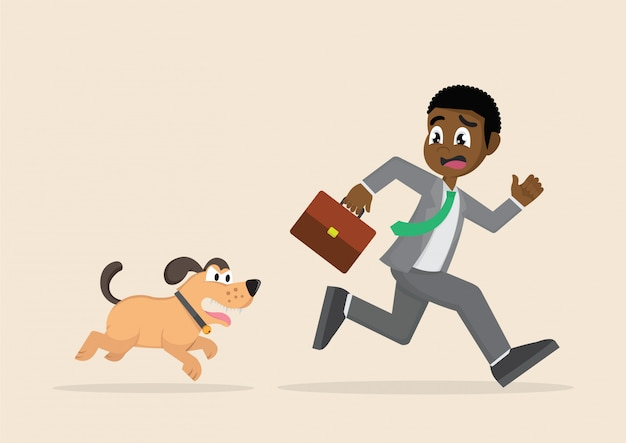 African businessman running away from dogs chases to bite.