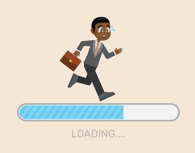 African businessman running on loading bar.