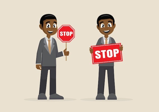 African businessman showing stop road sign.