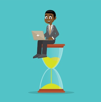 African businessman sitting on hourglass.