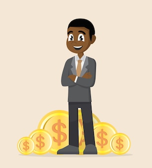 African businessman standing with gold coin.