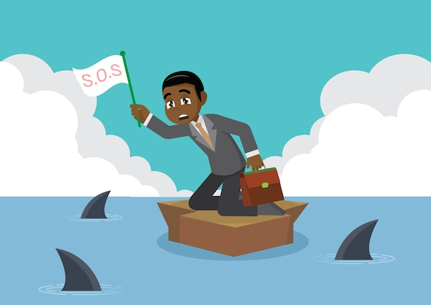 African businessman surrounded by shark.