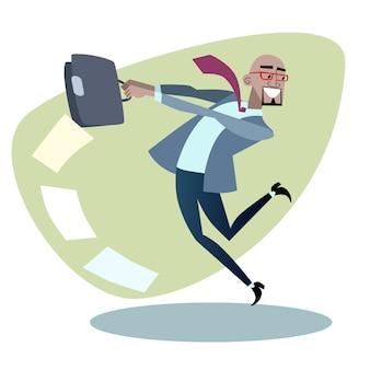 Африканский бизнесмен бросает портфель с бумагами, как хам
