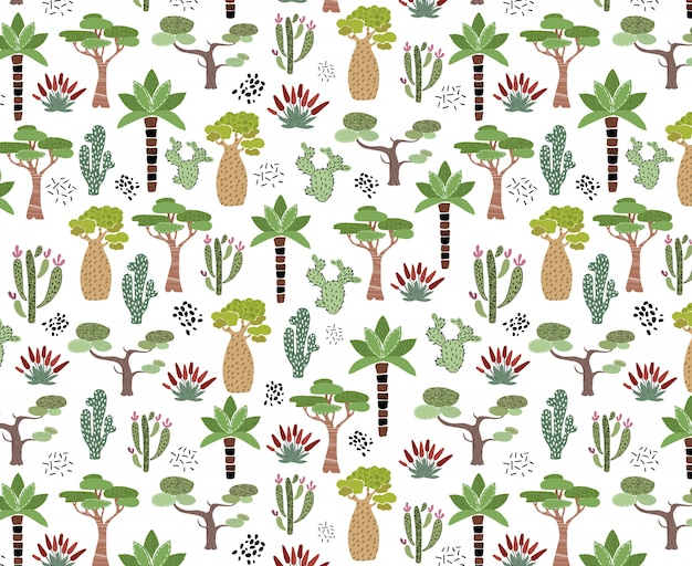 African cactus pattern