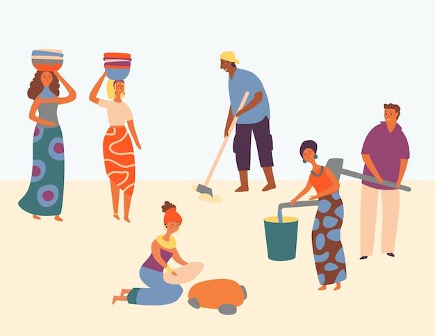 아프리카 문자 하드 작업 세트 디자인 스타일. 여자는 머리에 바구니를 착용합니다. 남자 쟁기 필드. 사람들은 양동이에 물을 얻습니다. 모두가 만족 한 일, 지역 사회를 돕습니다. 플랫 만화 벡터 일러스트 레이션