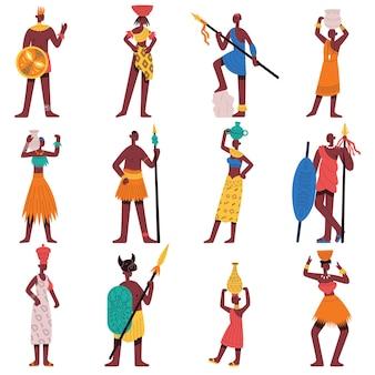 아프리카 캐릭터. 부족 남성과 여성, 전통적인 민족 의상 벡터 일러스트레이션 세트를 입은 흑인 캐릭터. 아프리카 주민 그룹, 야생 원주민 부족, 아프리카 문화