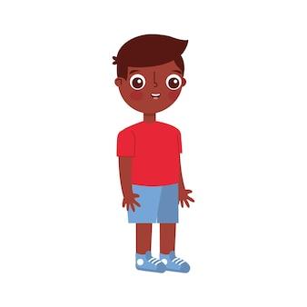 白い背景の上に分離されたアフリカの子漫画。ベクトルイラスト