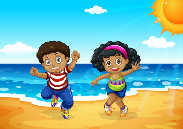 African children at the beach