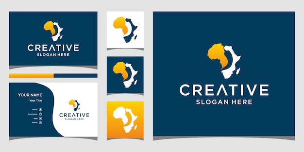 Дизайн логотипа африканского чили с шаблоном визитной карточки