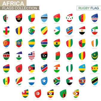 African countries flags collection. rugby flag set. vector illustration.