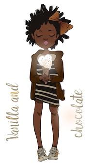 Африканская милая летняя девушка с мороженым