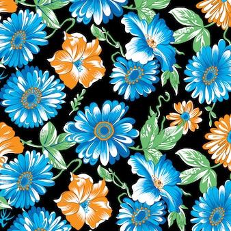 黒の背景にアフリカのデイジー造花パターン