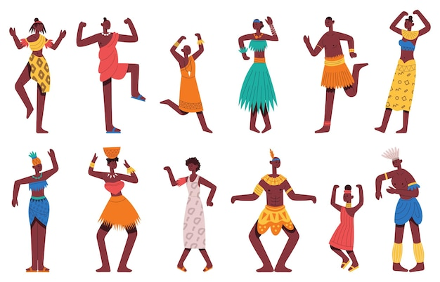 African dancing people. tribal african black male and female dancer characters