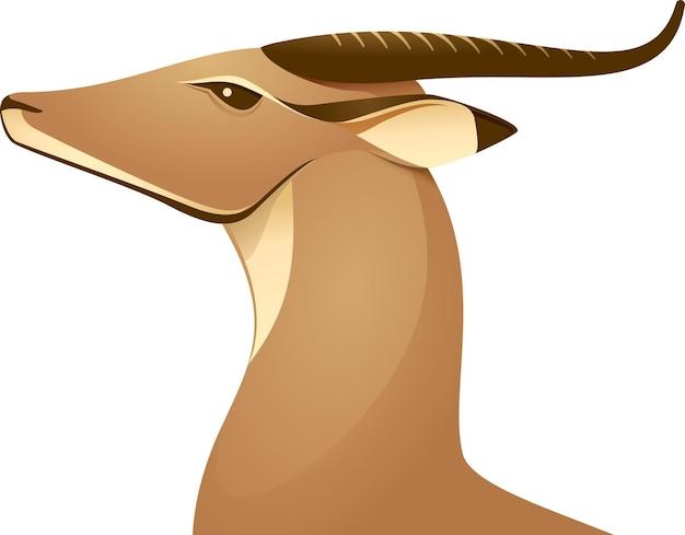 アフリカの鹿ガゼルアンテロープ美しいロゴアイコン