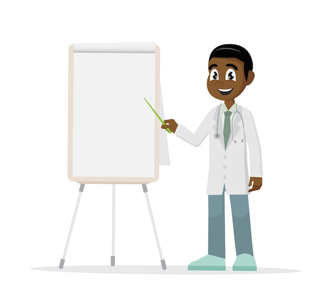 African doctor pointing a whiteboard.