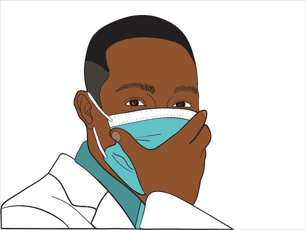 フェイスマークのベクトル図を身に着けているアフリカの医者