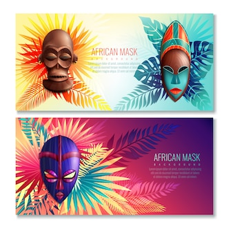 African ethnic mask banners