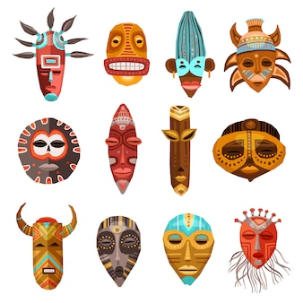 African ethnic tribal masks set