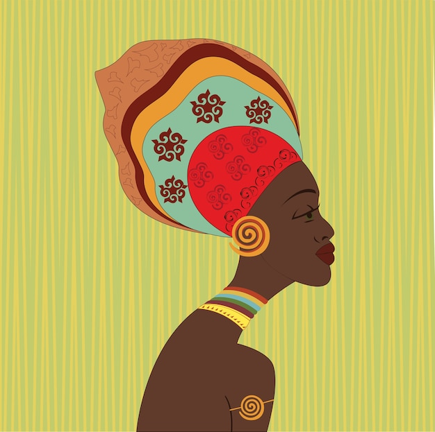 African ethnic woman face. profile view. young attractive girl from tribe with colorful turban