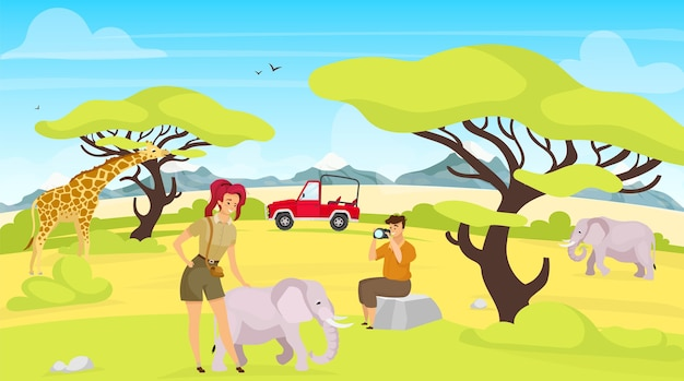 アフリカ遠征フラット。サバンナのキリンとゾウ。南の生き物を撮影する女性と男性。緑のサファリの風景。動物と人々の漫画のキャラクター