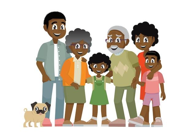 아프리카 가족 부모 어린이 할머니와 할아버지
