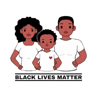 African family standing with pride pose, protest logo for black lives matter. stop racism usa.  style  cartoon  on white background.