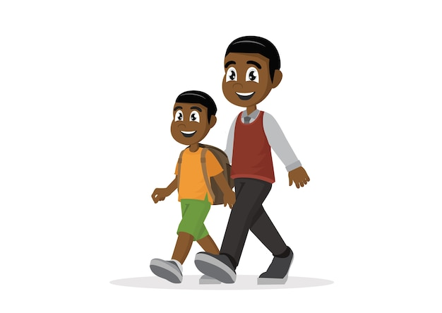 African father leads son to school.