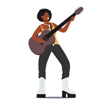 록 또는 컨트리 멜로디를 연주하는 어쿠스틱 기타를 연주하는 아프리카 여성 캐릭터. 음악가는 옷을 흔들고 노래하고 연주하고, 아티스트 기타 연주자, 가수 소녀입니다. 만화 벡터 일러스트 레이 션