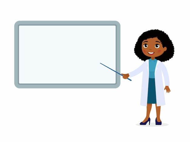 아프리카 여성 의사는 빈 의료 데모 보드를 가리 킵니다. 흰 코트에 의사
