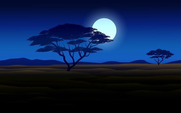 Африканский лесной ночной пейзаж с лунным светом