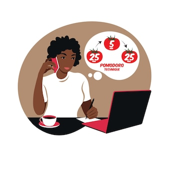 African girl manager working with computer using time management. pomodoro technique concept.