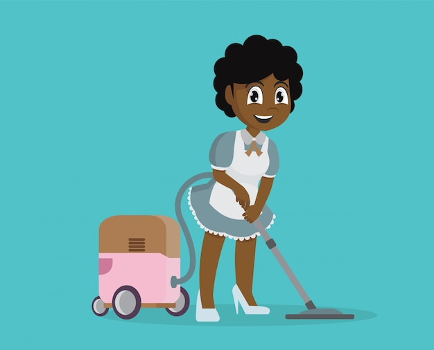 African girl using vacuum cleaner to clean house.