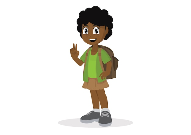 African girl with a school satchel show two fingers