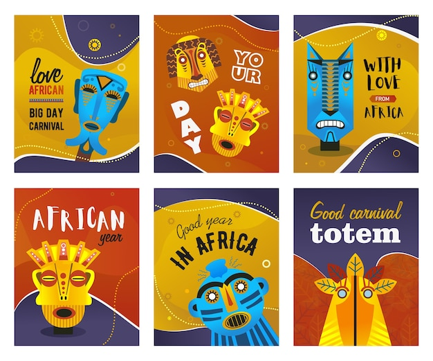 アフリカのグリーティングカードセット。民族の部族マスク、テキスト付きの伝統的なトーテムベクトルイラスト。カーニバルのチラシやエスニックパーティーの招待状のクリエイティブなデザイン