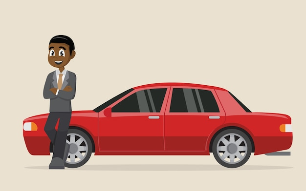 African happy businessman standing near car.