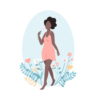 African happy girl with flower in flat style