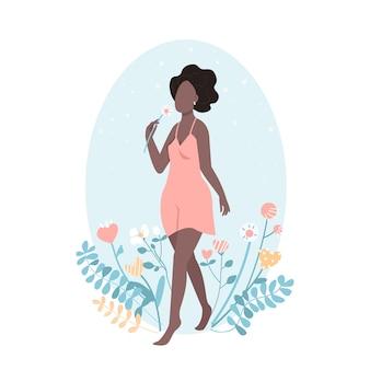Африканская счастливая девушка с цветком в плоском стиле