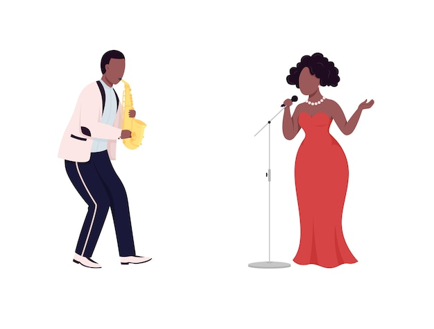 African jazz band flat color faceless character set. saxophone player. woman singer. blues live performance isolated cartoon illustration for web graphic design and animation collection