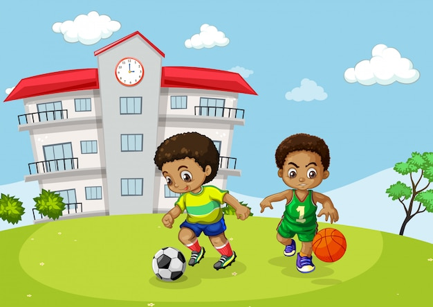 Африканский ребенок занимается спортом в школе