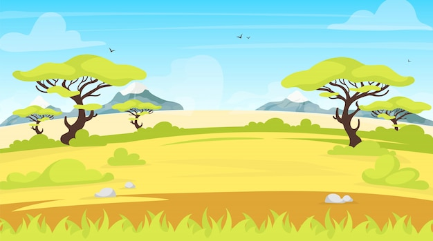 アフリカの風景イラスト。サファリパノラマランド。葉を持つ緑のサバンナシーン。牧草地のフィールド。緑の風景。豪快で熱帯の草原。夏の谷の漫画の背景