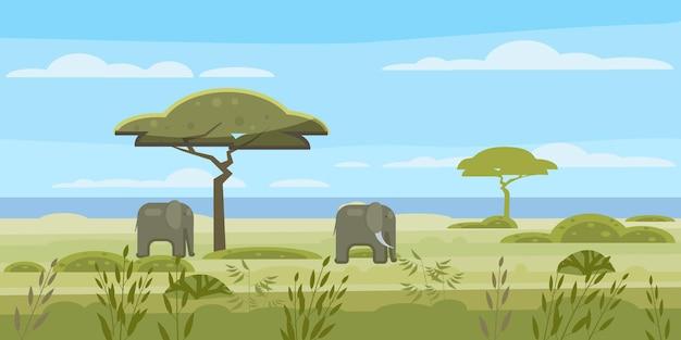 Африканский пейзаж саванна дикие стадо слонов панорама природа деревья дикая местность