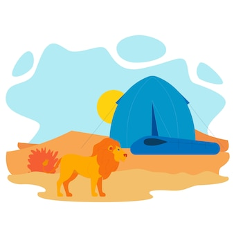 African lion and tent flat vector illustration