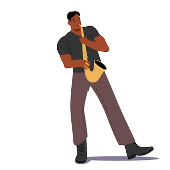 흰색 배경에 고립 된 색소폰을 연주 아프리카 남성 캐릭터. 음악 재즈 밴드 엔터테인먼트, 콘서트, 색소폰 플레이어 부는 음악가 작곡. 만화 사람들 벡터 일러스트 레이 션